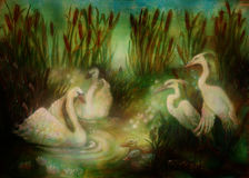 Pair of swans and crane birds at pond surrounded with reeds, fairytale illustration Stock Photo
