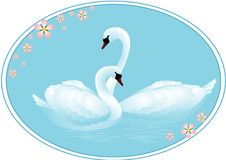 Pair of Swans in Love. Illustration of a pair of swans in love in a blue oval Royalty Free Stock Photography