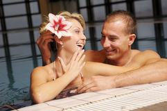 The pair in swimming pool Royalty Free Stock Photo