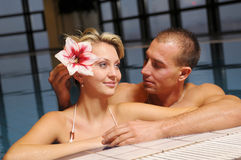 The pair in swimming pool Stock Image