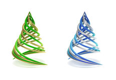 Pair of symbolic and minimalist christmas tree. On white stock illustration