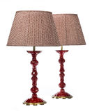 Pair table lamps old antiques red Royalty Free Stock Photos