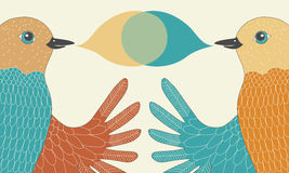 Pair of Talking Birds stock illustration