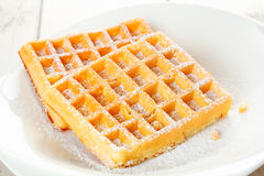A pair of tasty fresh waffles royalty free stock photo