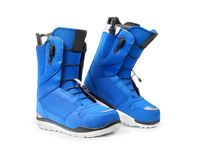Pair of technological snowboard boots isolated on white Stock Photo