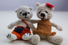 Pair of teddy bears on white background Royalty Free Stock Images