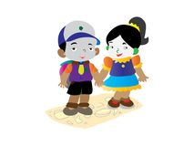 A pair of teenagers joined hands and walked happily royalty free illustration