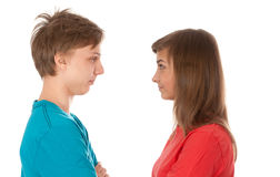 Pair of teenagers looked at each other Royalty Free Stock Photos