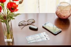 Pair of theater tickets on table with window Royalty Free Stock Photography
