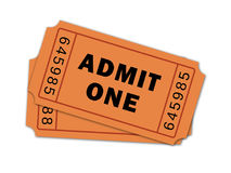 Pair of Theatre Tickets. Two admit one movie tickets Royalty Free Stock Photography