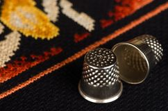 Pair of thimbles closeup Royalty Free Stock Images