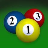 Pair of three billiard balls Royalty Free Stock Photo