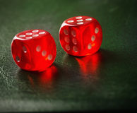 Pair of thrown dices on green table Stock Photography
