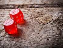 Pair of thrown red dices Stock Images