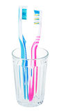Pair tooth brushes in glass Stock Images