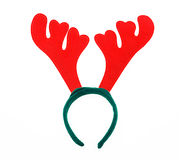 Pair of toy reindeer horns. Isolated on a white background. Royalty Free Stock Image