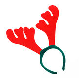 Pair of toy reindeer horns on a white background Royalty Free Stock Image