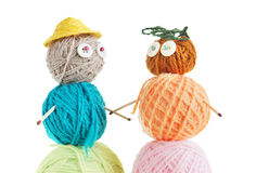 Pair Of Toys Made Of Balls Of Yarn Royalty Free Stock Image