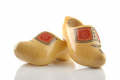 Pair of traditional Dutch wooden shoes Stock Photos