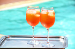 Pair of traditional Italian Spritz cocktails Royalty Free Stock Photography