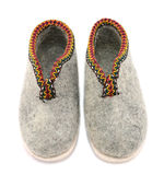 Pair of traditional wool felt slippers Stock Photo