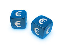 Pair of translucent blue dice with euro sign. Isolated on white background Stock Photos