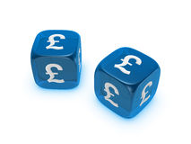 Pair of translucent blue dice with pound sign Royalty Free Stock Photo