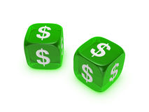 Pair of translucent green dice with dollar sign Stock Photo