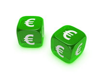 Pair of translucent green dice with euro sign. Isolated on white background Royalty Free Stock Image