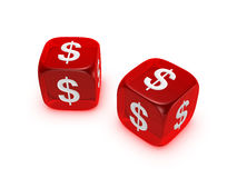 Pair of translucent red dice with dollar sign. Isolated on white background Royalty Free Stock Photo