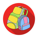 Pair of travel backpacks icon in flat style isolated on white background. Family holiday symbol stock vector Royalty Free Stock Photo