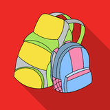 Pair of travel backpacks icon in flat style isolated on white background. Family holiday symbol stock vector Royalty Free Stock Image