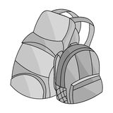 Pair of travel backpacks icon in monochrome style isolated on white background. Family holiday symbol stock vector Royalty Free Stock Photography