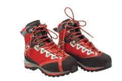 The pair of treking boots. Isolated on the white background Royalty Free Stock Image