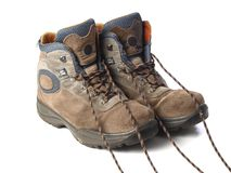 A pair of trekking boots Stock Photos