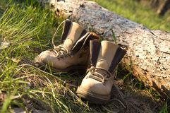 Pair of trekking boots in forest Royalty Free Stock Images
