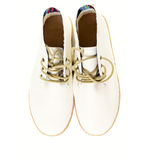Pair of trendy canvas shoes isolated on white top view Stock Photo