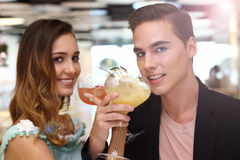 A pair of trendy lovers having dinner in fusion restaurant stock photo