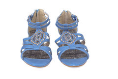 Pair of trendy summer female sandals royalty free stock photos