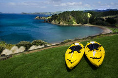 Pair of twin yellow kayaks Stock Photos