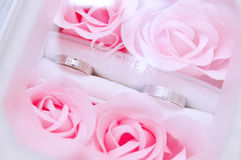 Pair of Two Rings in a Box of Pink Roses. Two silver colored rings set in a box filled with beautiful pastel pink roses Stock Photography
