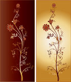 A Pair of Two Tall Ornate Intricate Flowers Royalty Free Stock Images