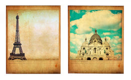 Pair of two vintage paris photos with Eiffel Tower and Sacre Coe Royalty Free Stock Image