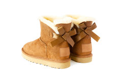 Pair of uggs with fur Royalty Free Stock Photography