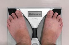 Pair of Ugly Feet on a Floor Scale with `Overweight` on the Disp stock image