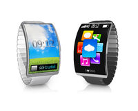Pair ultra-thin bent interface smartwatch with metal watchband Royalty Free Stock Photo