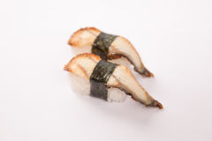 Pair of Unagi (Water Eel) Sushi. Pair of japanese water eel sushi on a white background Royalty Free Stock Images