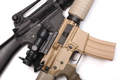 Pair US Army assault rifles. Stock Photo