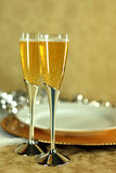Pair of Vetical Champagne Flutes Stock Image