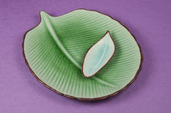 Pair of Vibrant Leaf Shaped Plates Stock Photography